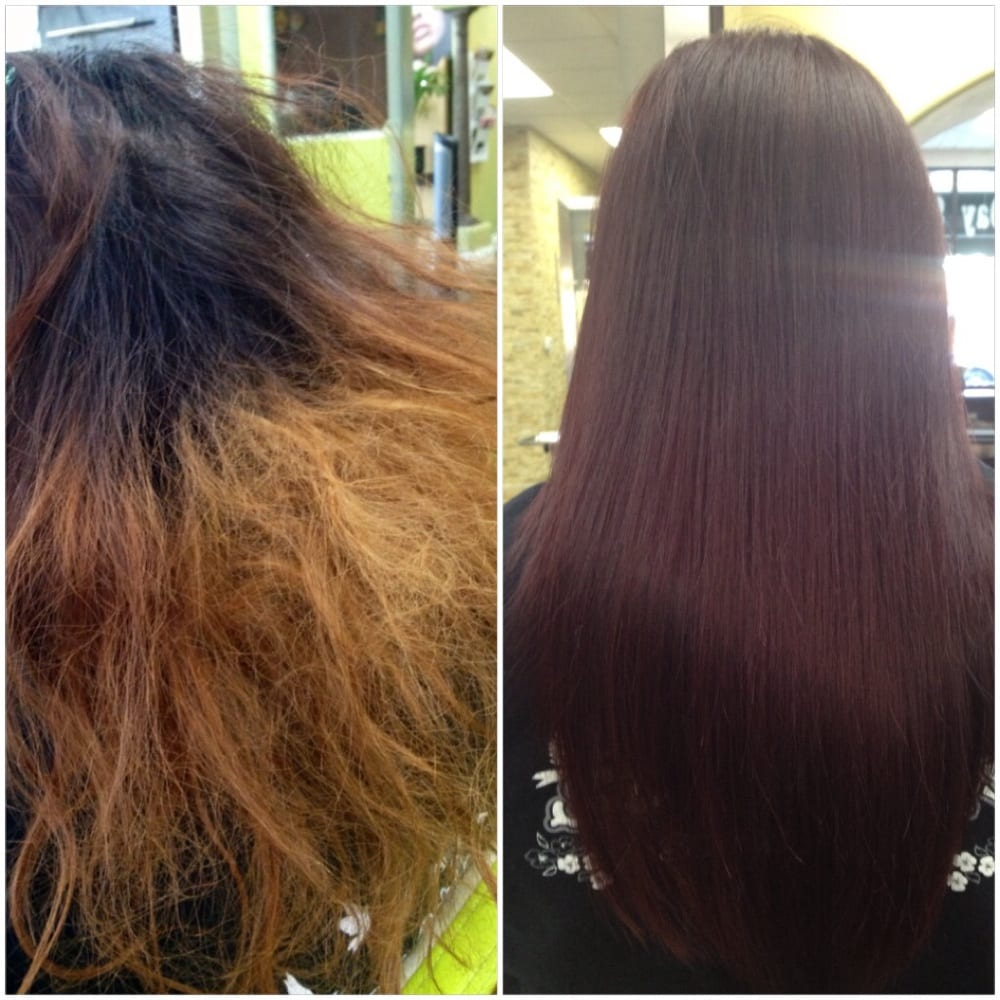 Before And After Protein Collagen Treatment With Color Shine