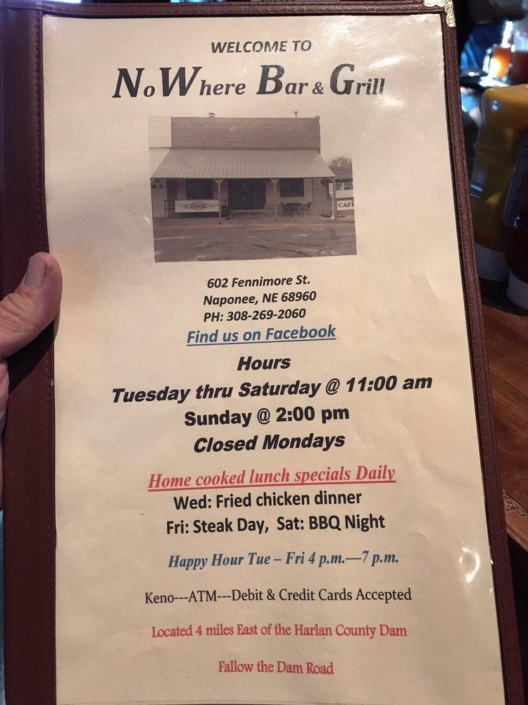 No Where Bar & Grill: 602 Fennimore St, Naponee, NE
