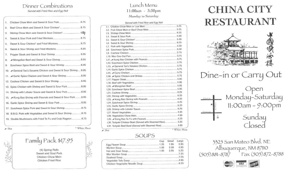 China City Restaurant Albuquerque Menu