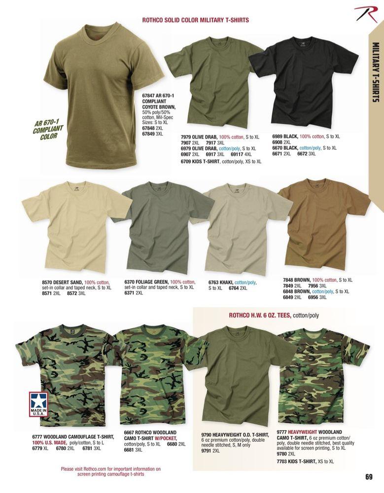 Military Black Cotton T-shirt Rothco 6989