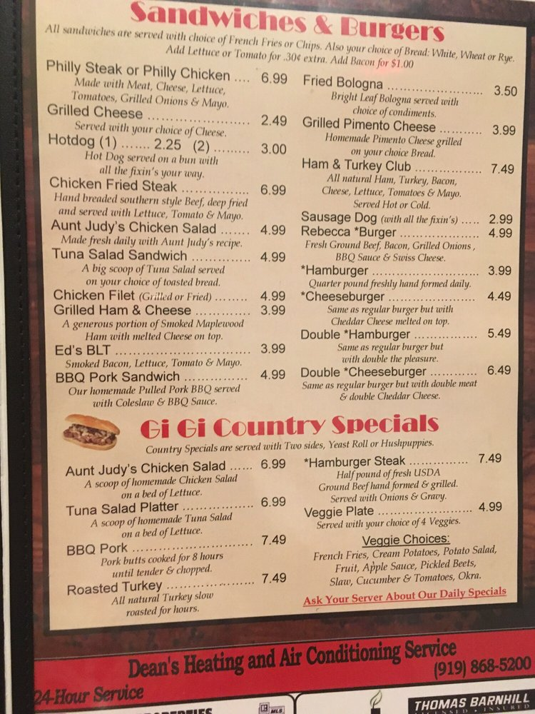 Ed's Family Restaurant & Catering: 43 E Depot St, Angier, NC
