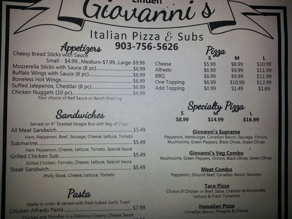 Giovanni's Pizza & Subs: 109 North Main, Linden, TX
