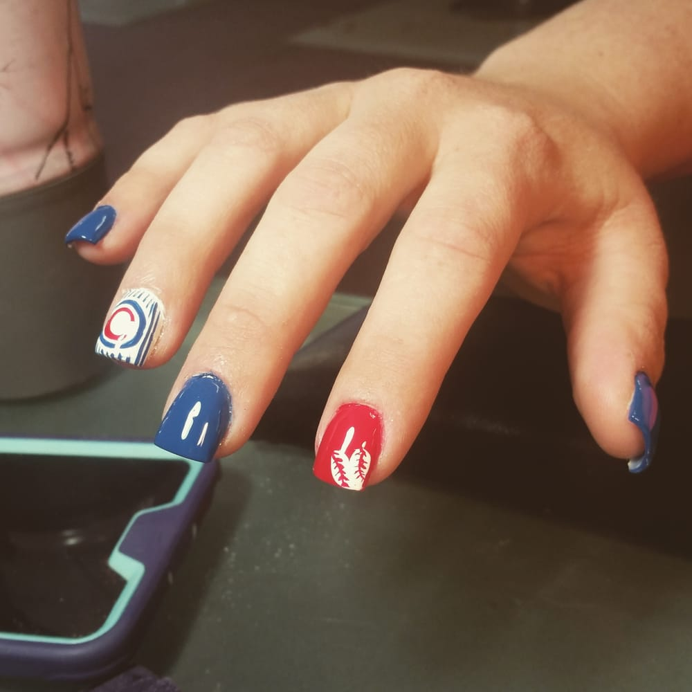 Chicago Cubs, freehand nail art - Yelp
