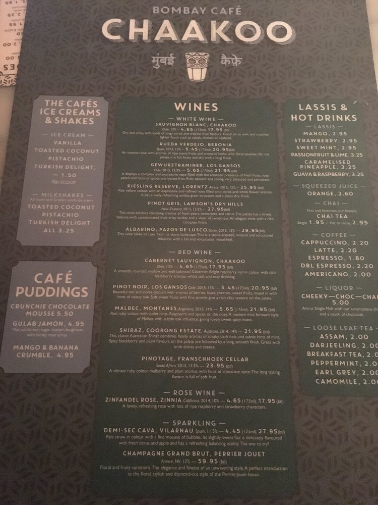 Chaakoo Bombay Cafe Glasgow Menu