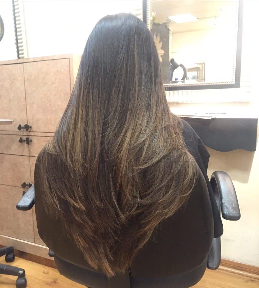 Long Thick The V Shape Layered Haircut Dark Blonde Balayage Color