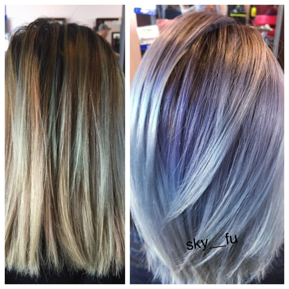 Color Correction Balayage Levander Amp Silver Gray  Yelp