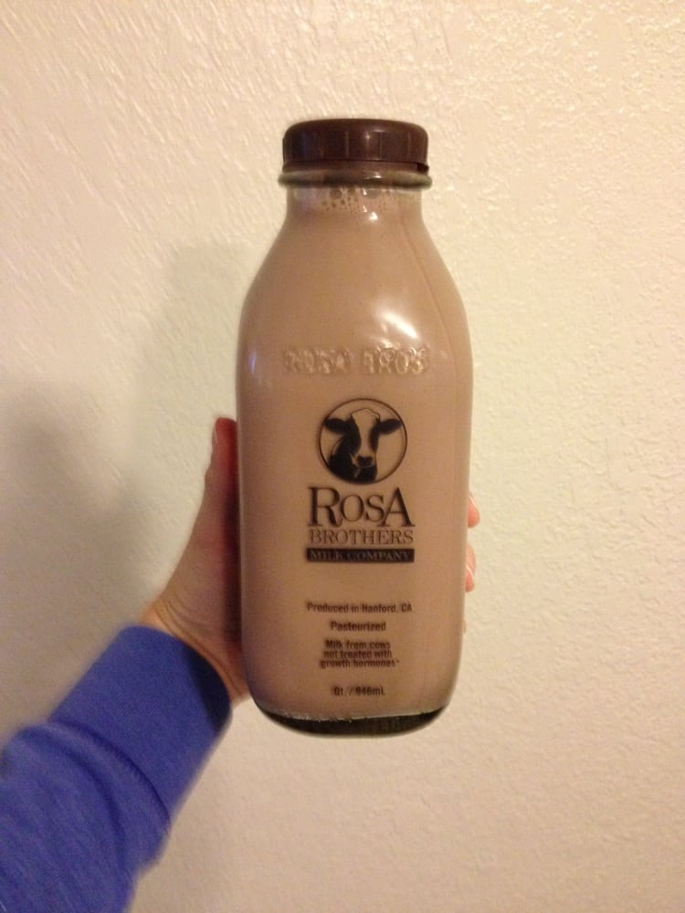 Chocolate milk in glass bottles from local dairy. Best chocolate ...