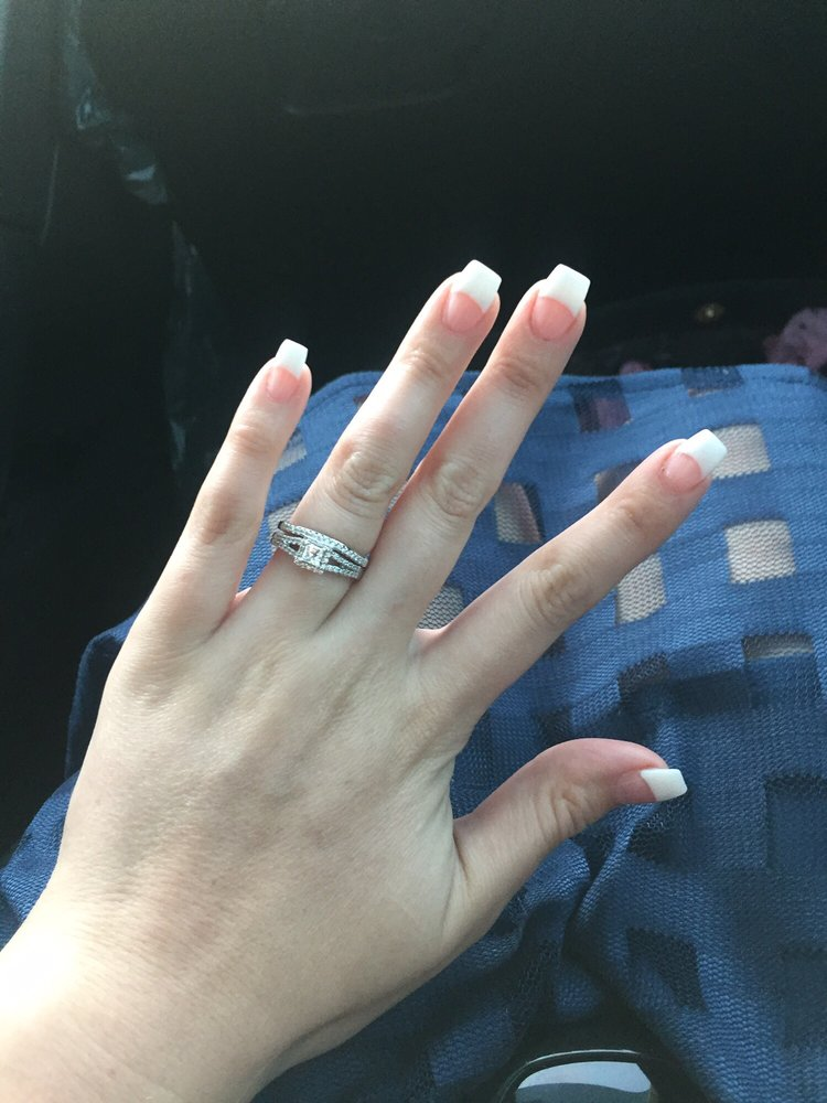 French tip with white and medium pink powder in coffin shape. - Yelp