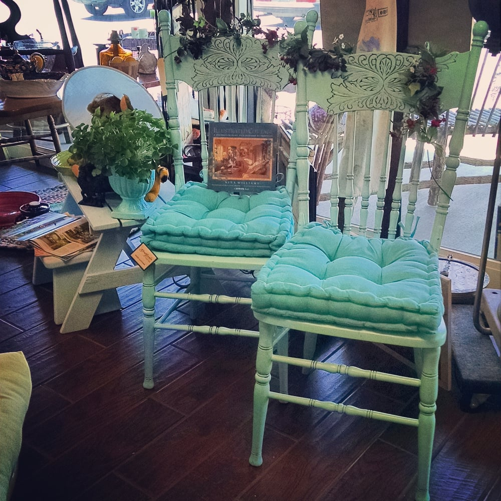 We are Shabby, are you? Painted antique oak kitchen table chairs in ...