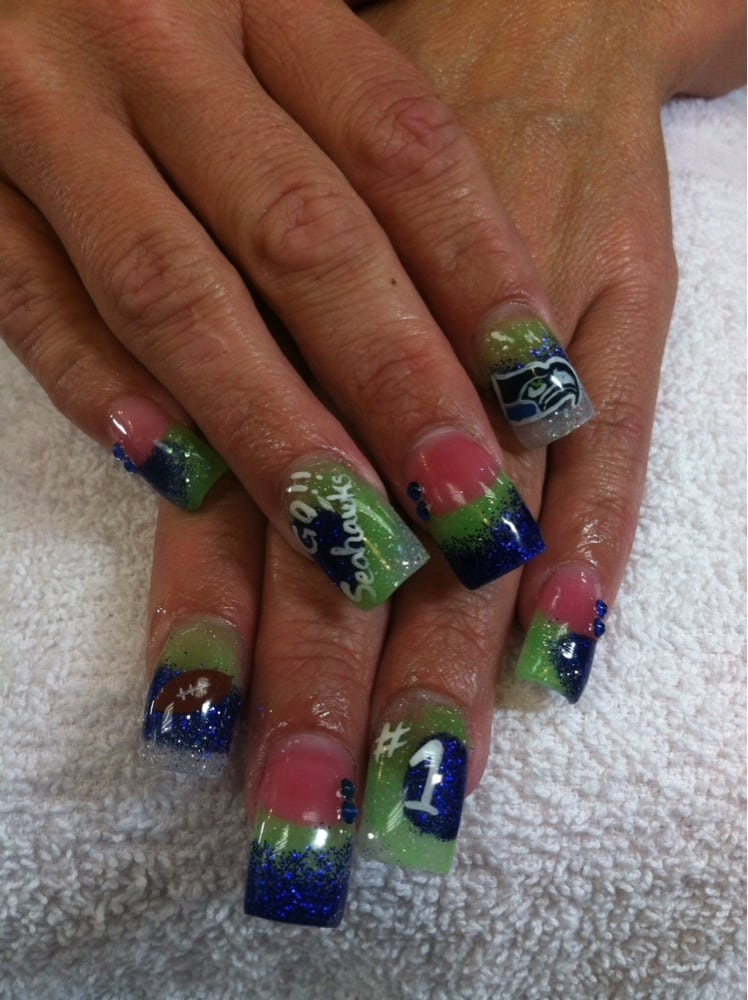 Maggie did my Seahawks nails!! Love them!! - Yelp