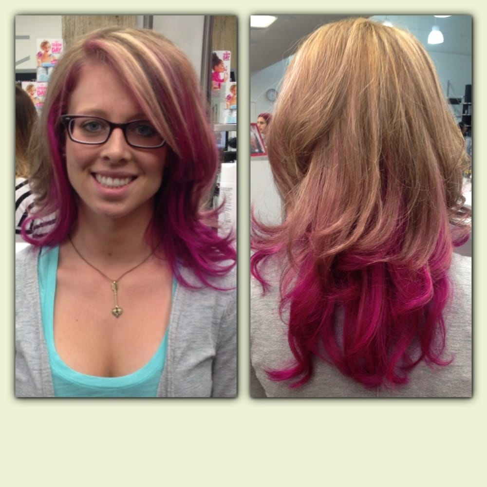 Hot pink ombr done by stefanie 2792 yelp for A salon paul mitchell san diego
