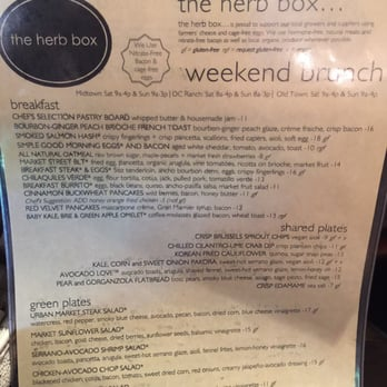the herb box menu