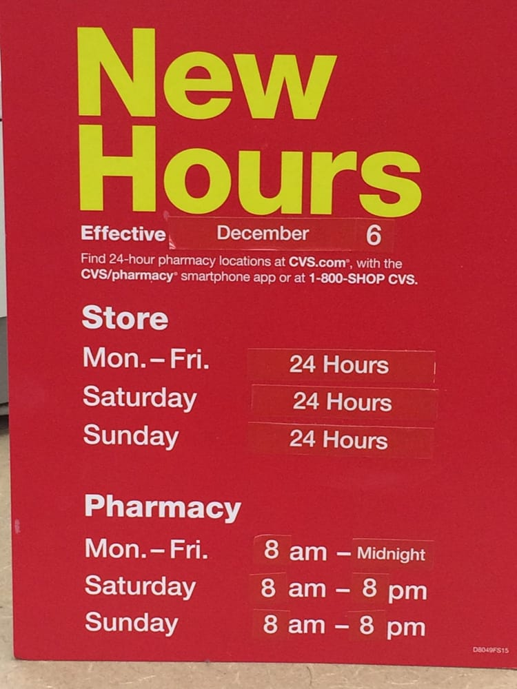 this cvs pharmacy has new hours  people  the pharmacy closes at midnight on weekdays and 8 pm on