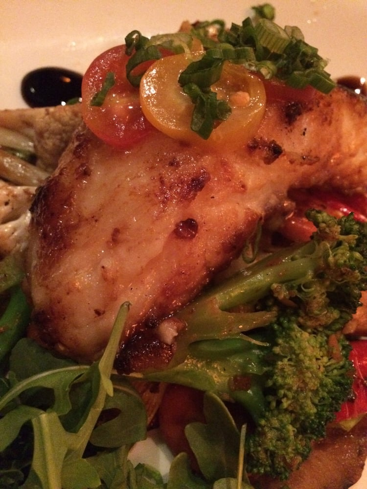 Oolong miso sea bass with glazed veggies Yelp