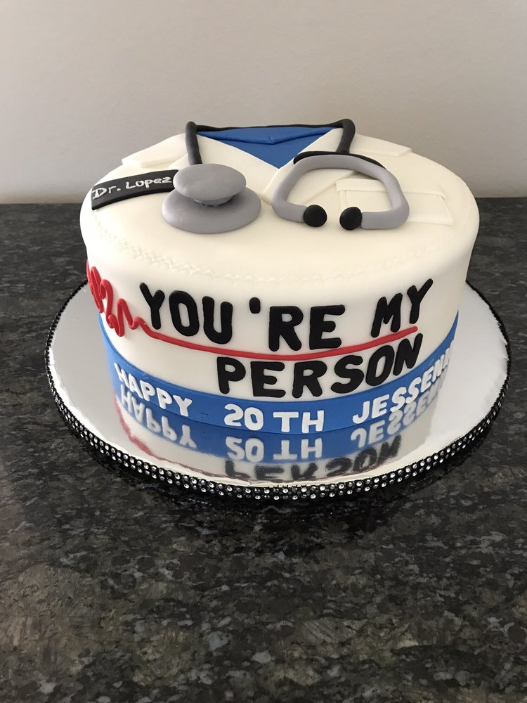Grey S Anatomy Themed Cake Topped With A Stethoscope And Decorated