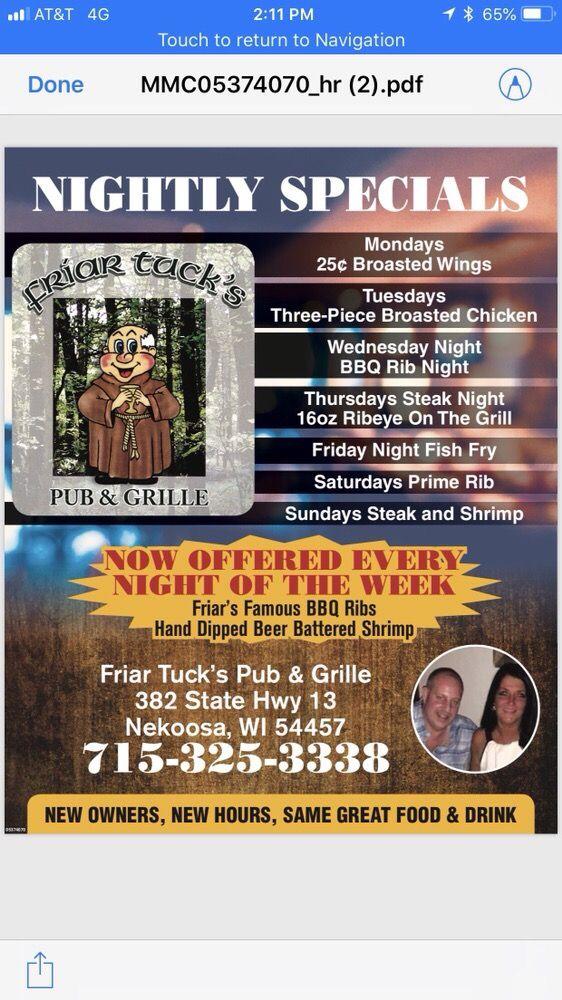Friar Tuck's Pub & Grille: 382 State Highway 13, Nekoosa, WI