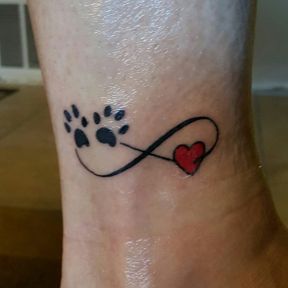 Infiniti tattoo done by osh i love it done in memory of for Tattoo of my dog
