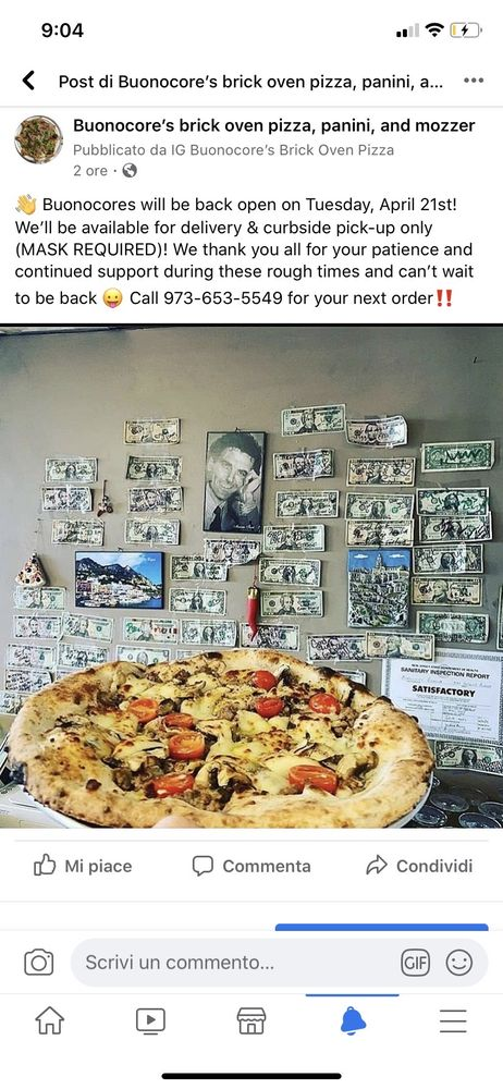 Buonocore's brick oven pizza, panini, and mozzer: 389 Belmont Ave, Haledon, NJ