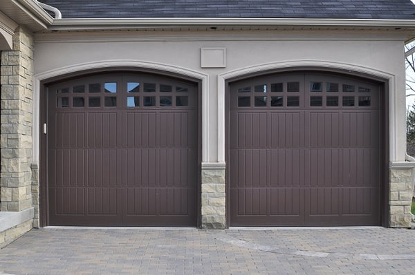 Carriage House Doors In Brown Finish Yelp