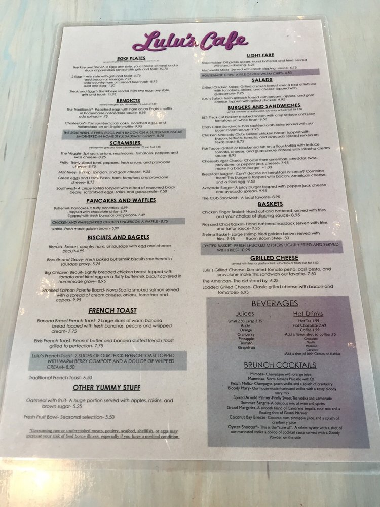 Lulu S Cafe Myrtle Beach Menu
