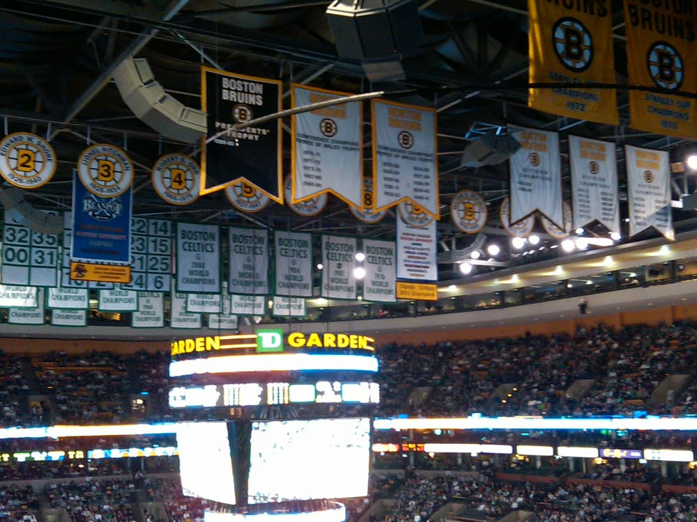 Td garden rafters with celtics championships retired numbers yelp for Restaurants near td garden boston ma