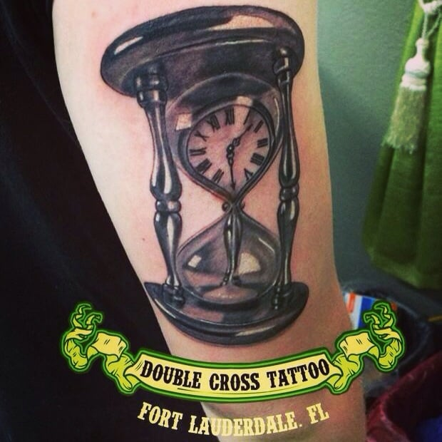 hourglass done at double cross tattoo by peter photelo yelp