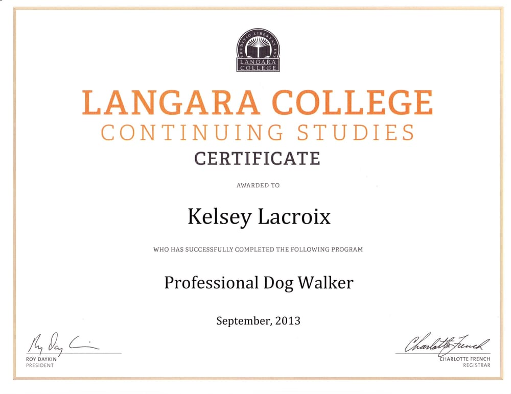 Professional Dog Walking Certificate Dog Behaviour Studies Dog
