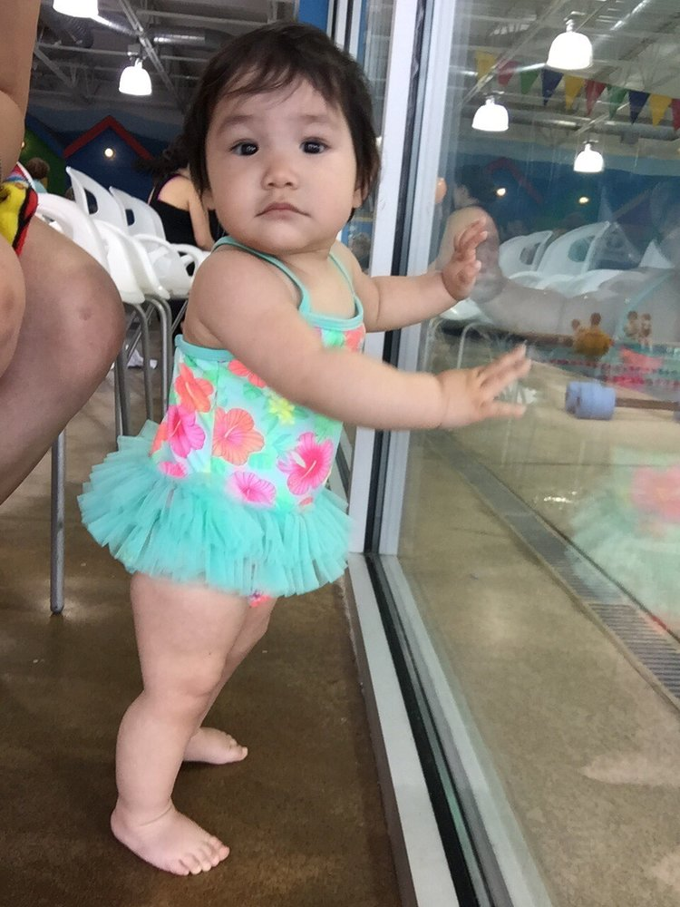 bb39e94669b72 My baby at 11 months. I got her this swim suit at Walmart size 2T ...