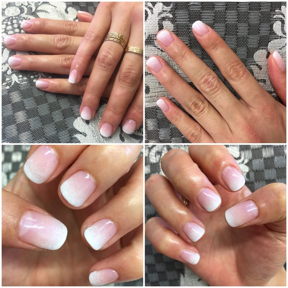 ombré gel french tips/gradient nailsamy. highly recommend her