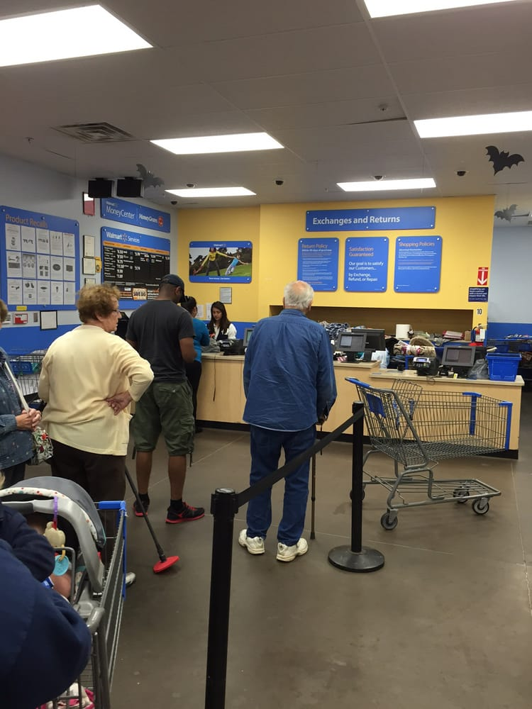 One person working customer service desk and a never ending line ...