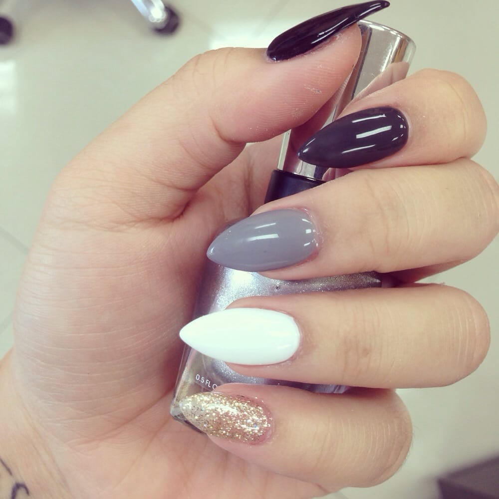 LOVE THEM! square turquoise & gold acrylic non gel nails! very good ...