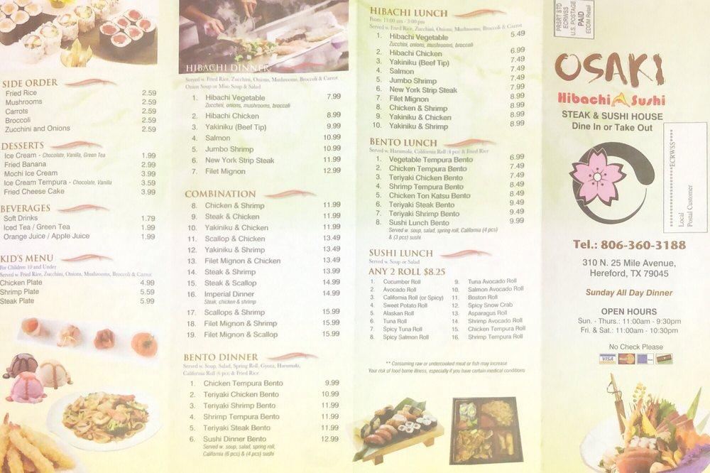 Osaki Steak house: 310 N 25 Mile Ave, Hereford, TX