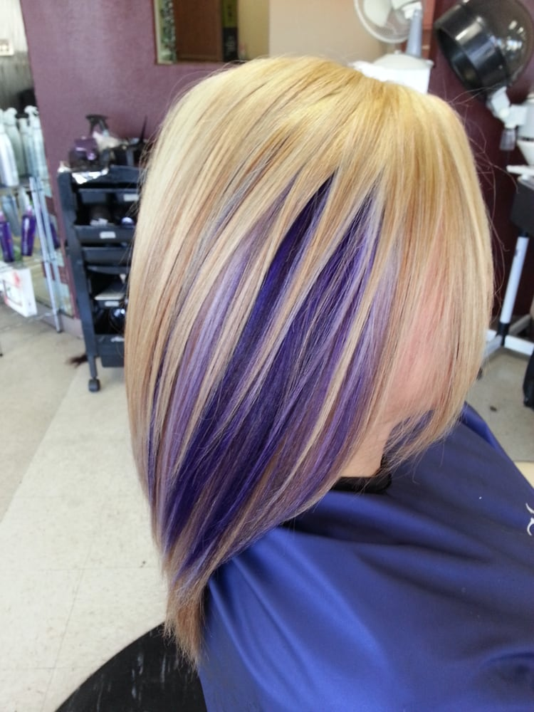 Blonde base highlights and purple peekaboo yelp for 2 blond salon reviews