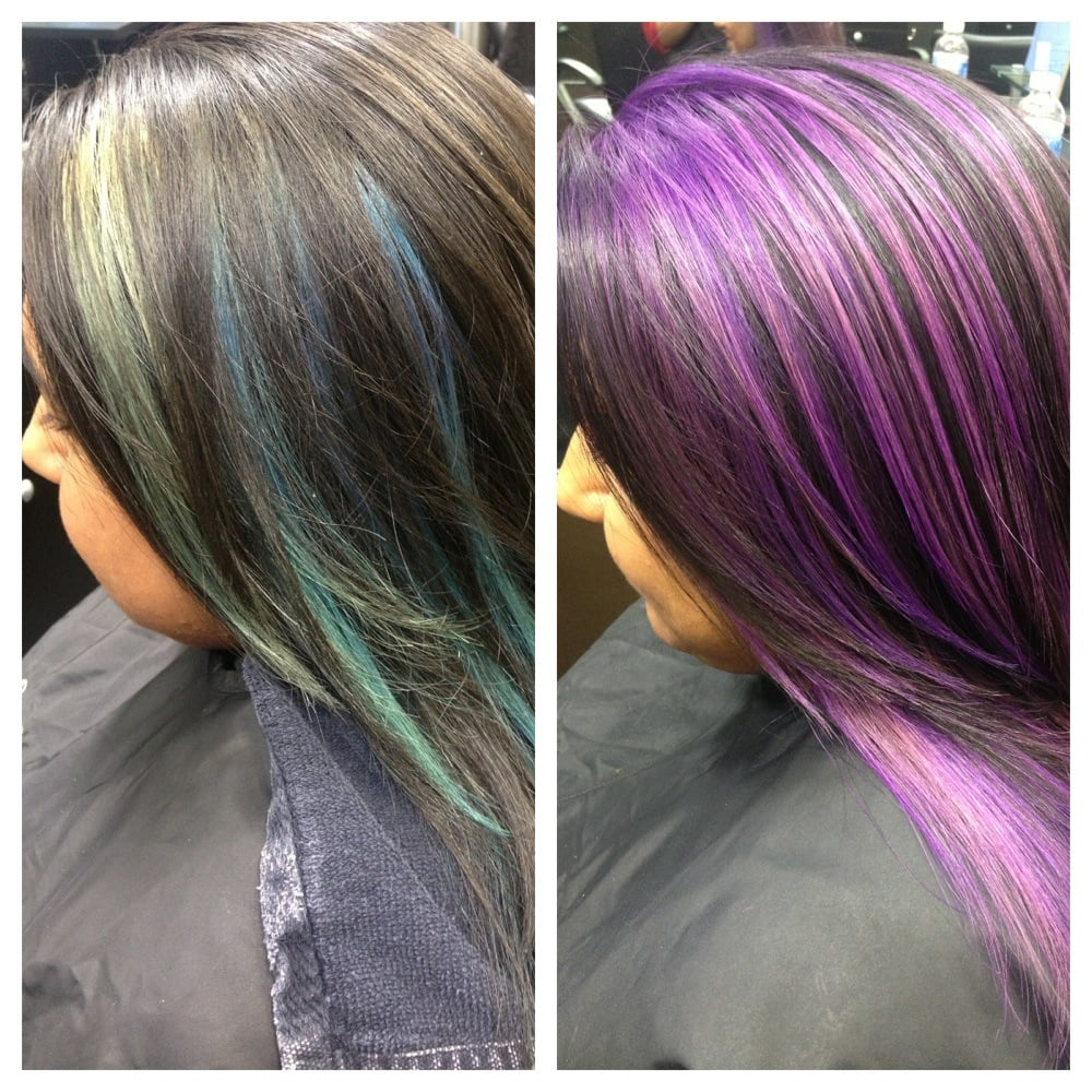 Blue Peek Boo Highlights To Purple Highlights Hair By