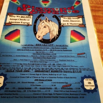 Diamond Horseshoe Restaurant Cheyenne Menu