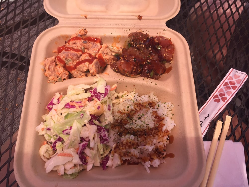Two types of poke yum yelp for South maui fish company