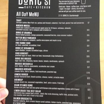Doric St Cafe Menu