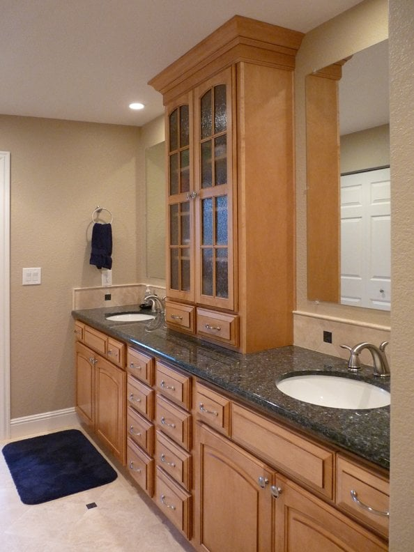 Bathroom cabinets woodharbor maple honey yelp for Bathroom cabinets yelp