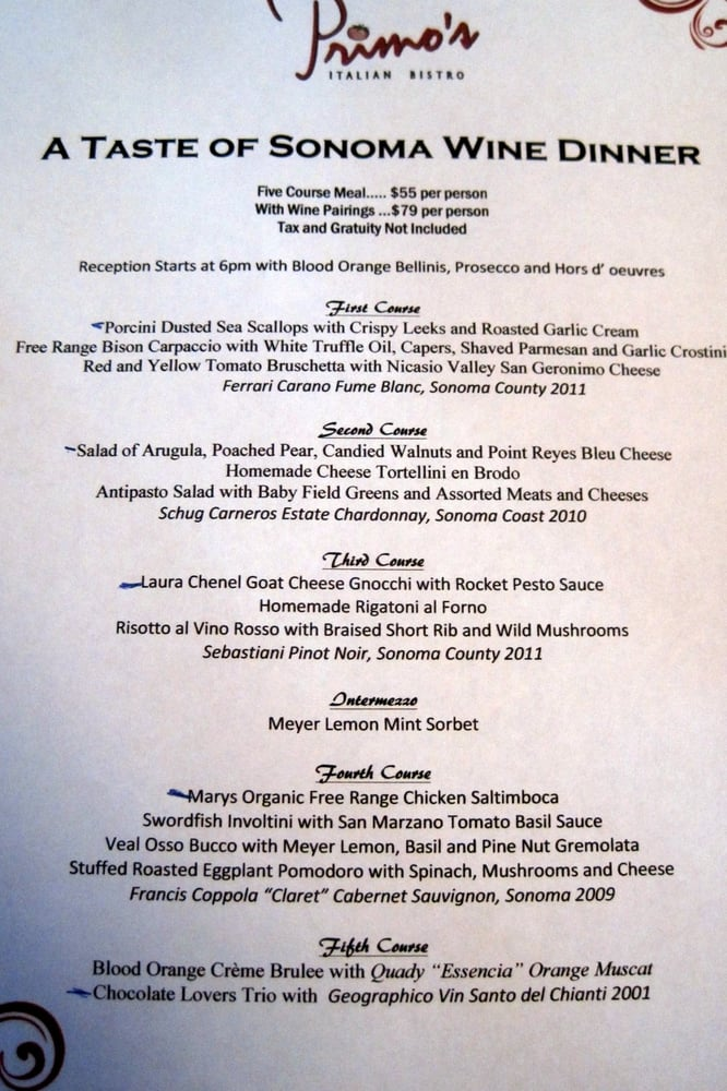 Olive Garden Menu Pdf: A Taste Of Sonoma Wine Dinner Menu