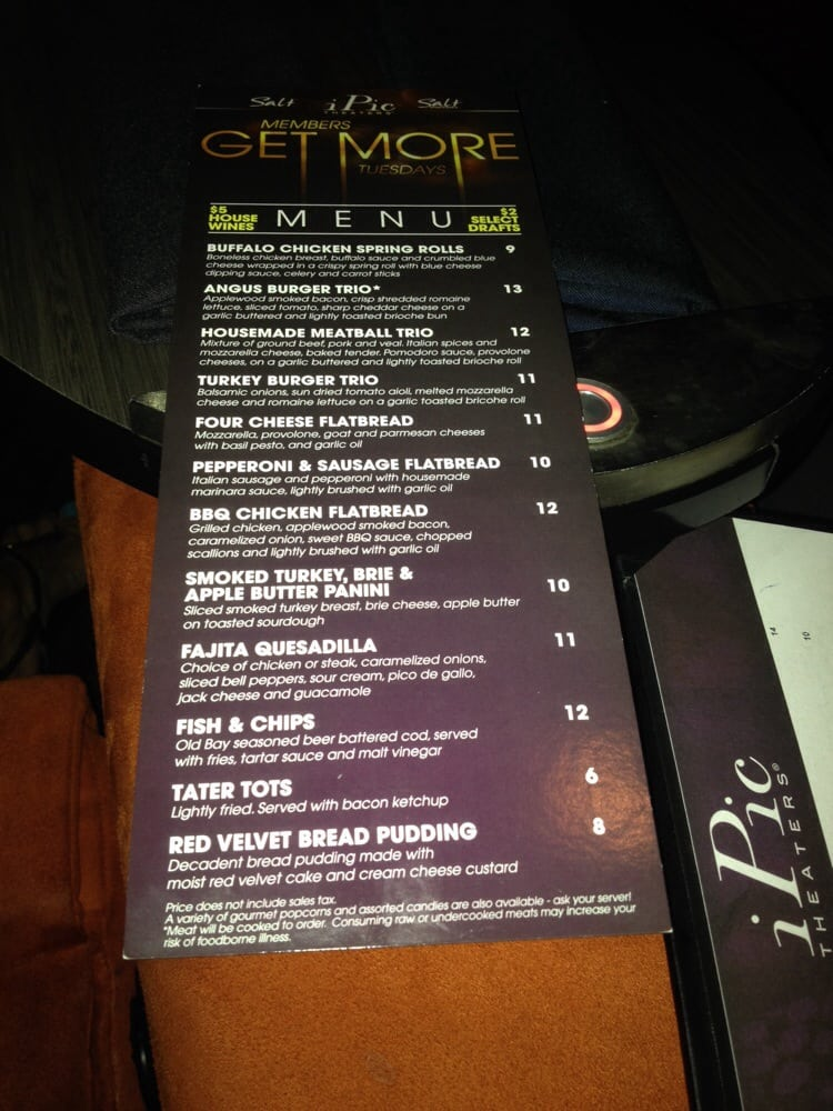 photo of ipic theaters pasadena ca united states special menu all night