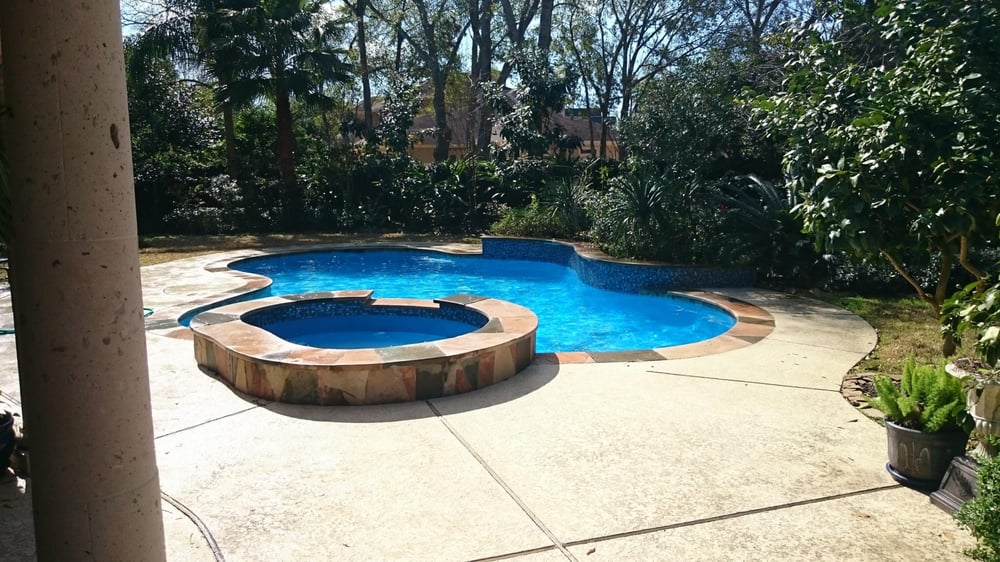 Relatively Pool remodel (Diamond Brite- Tahoe blue, waterline tile glass with  GZ73