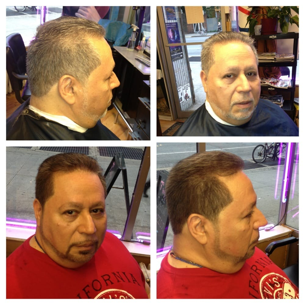 Hair and beard grey coverage color looking 10 years for 7th heaven beauty salon