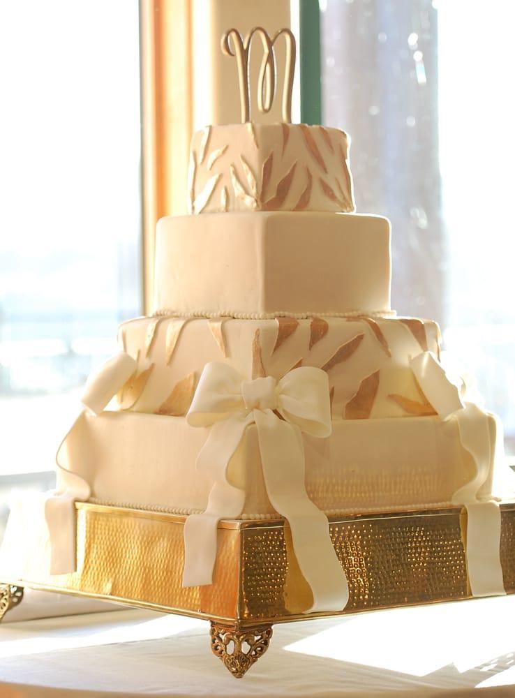 Gold Leaf wedding cake. Simple and elegant, and super delish! - Yelp