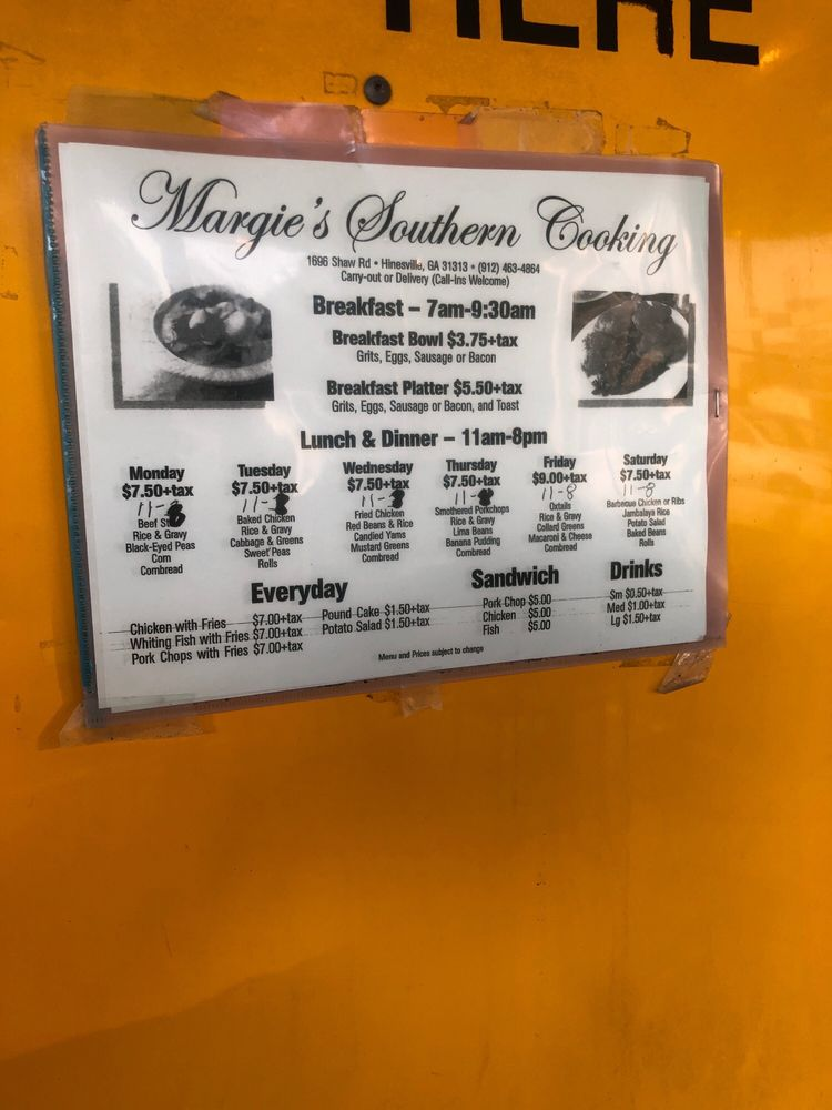 Margie's Southern Cooking: 1696 Shaw Rd, Hinesville, GA