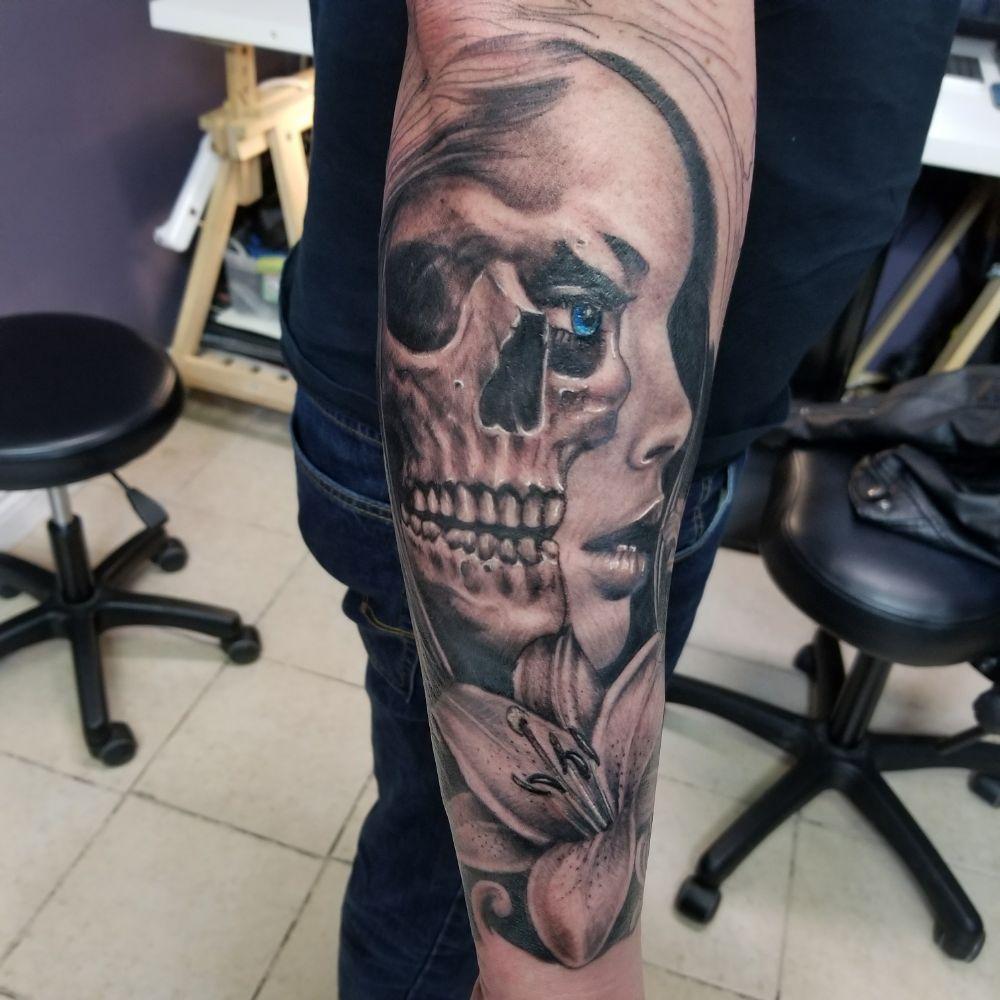 Half Skull Half Girl Face Tattoo Yelp