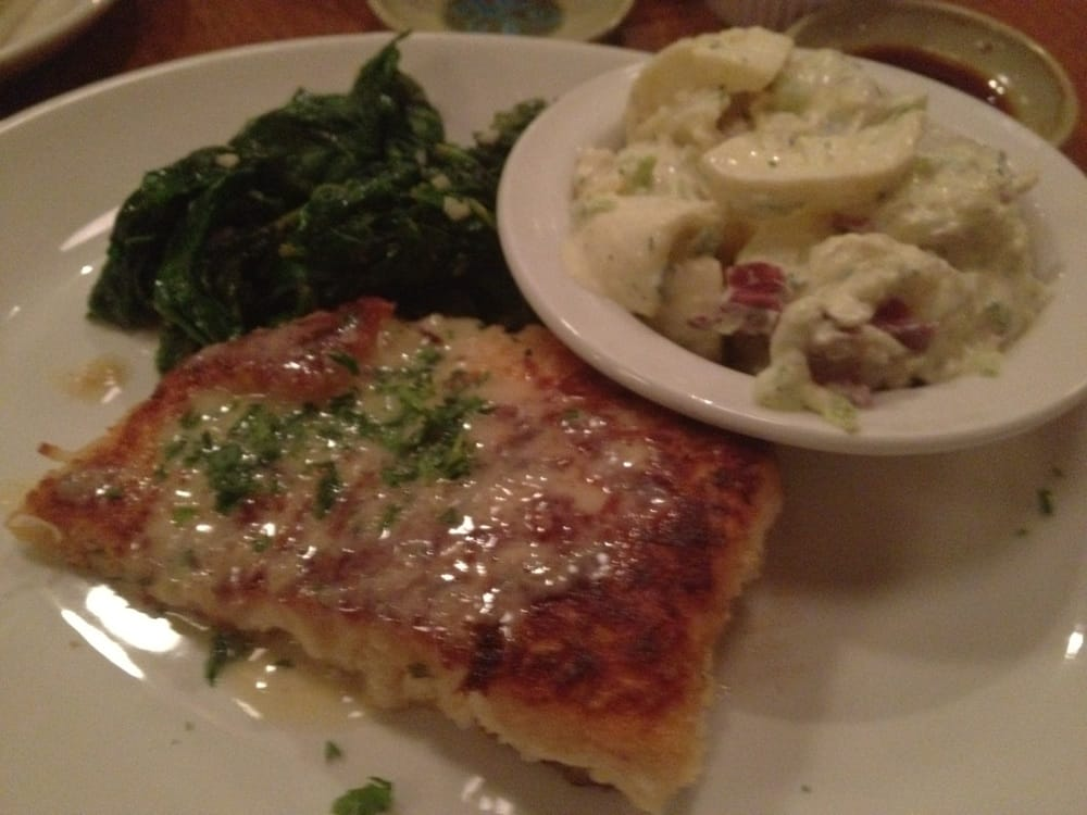 Crab crusted salmon potato salad and steamed spinach yelp for King s fish house mission valley