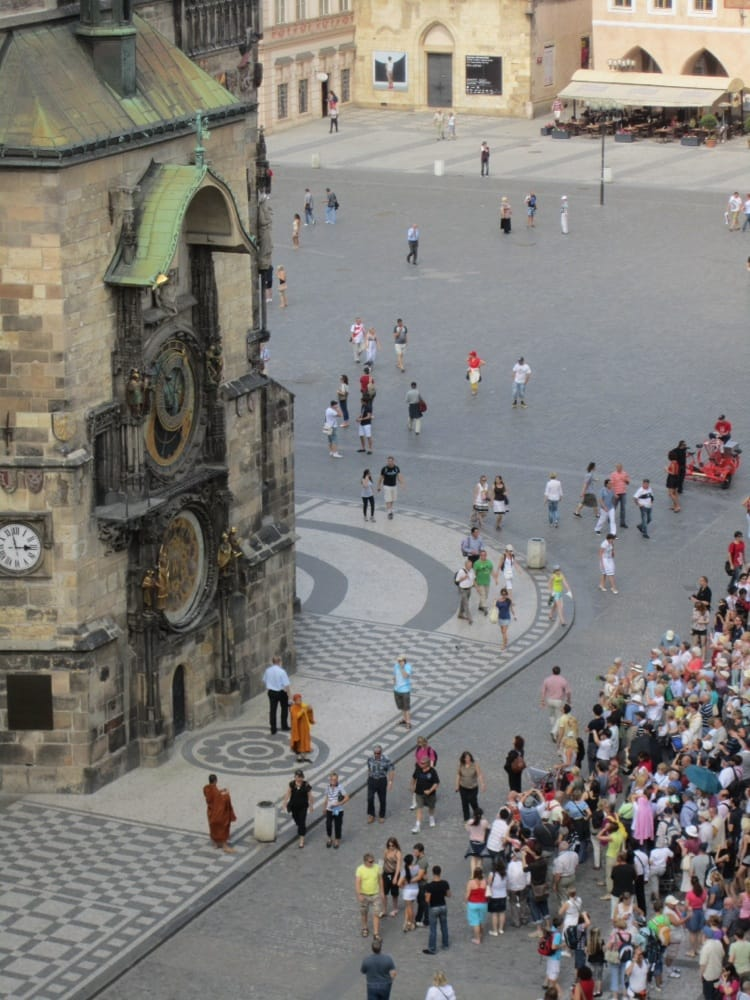 Old town square astronomical clock view from the terrace for Terrace u prince prague