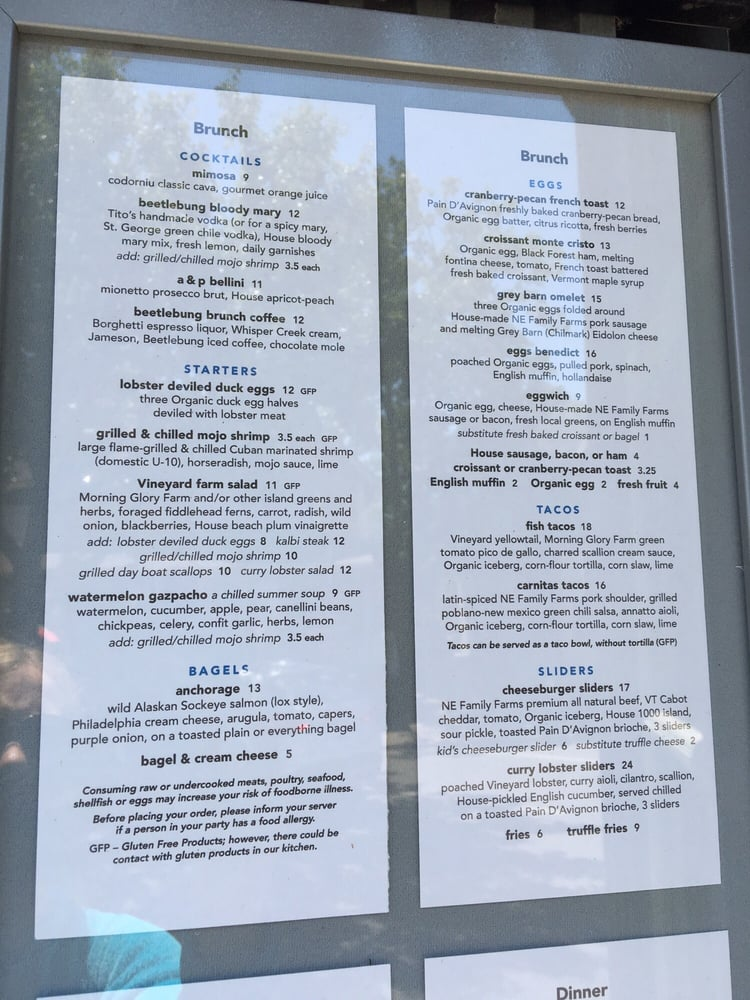 Photo of Beetlebung - Oak Bluffs, MA, United States. Menu