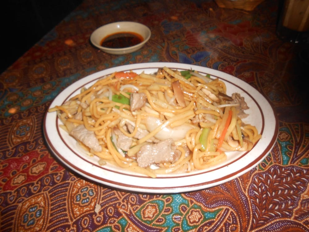 Lomein stir fried egg noodles bamboo shoots snow pea for At siam thai cuisine