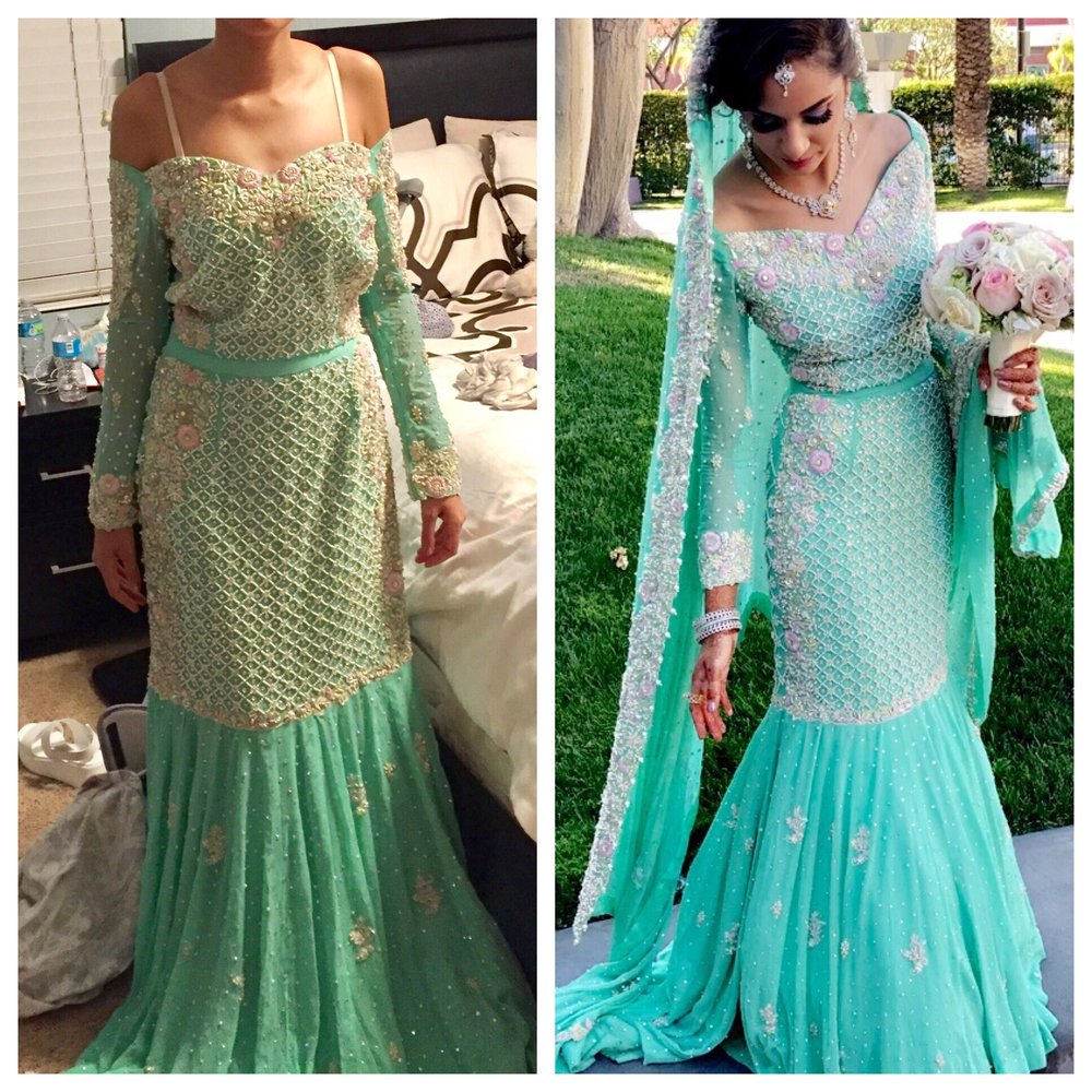 This is a before and after shot of my wedding gown ! Lanna and ...